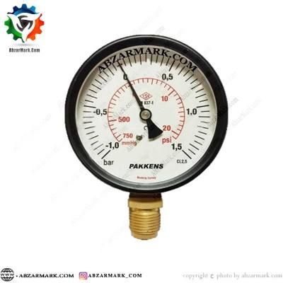 مانومتر پکنز PAKKENS صفحه 10 سانت عمودی خشک 1- تا 1.5+ بار